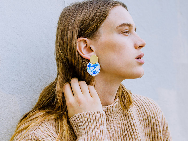 ball drop statement earrings